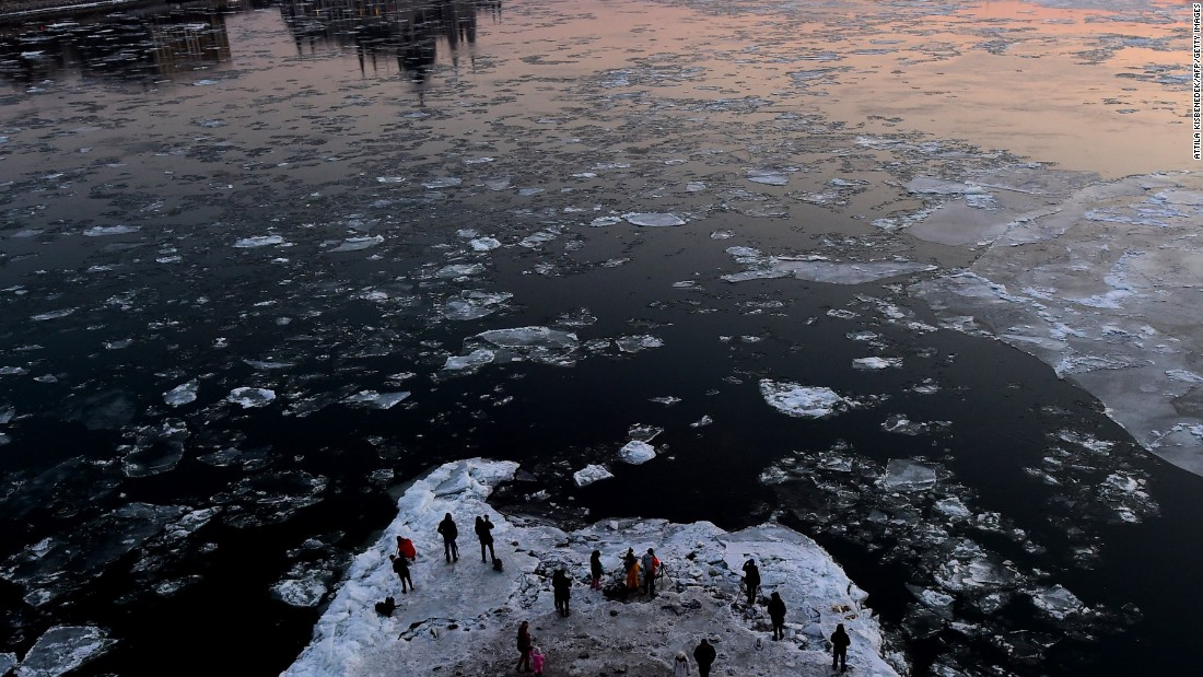 <strong>Budapest, Hungary: </strong>Cold weather also gripped Budapest mid-January, where sightseers gathered under the stone pillars of Margaret Bridge to take photos of ice floes floating down the River Danube.