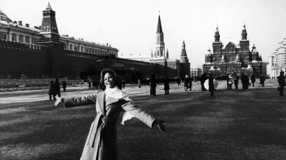Moore visits Moscow's Red Square in 1976.