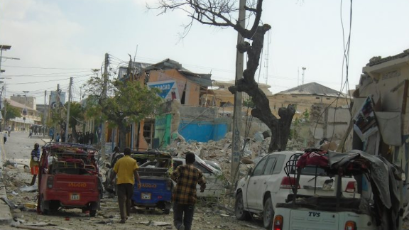 The explosion of a truck bomb leaves destruction Wednesday in the Somali capital of Mogadishu.