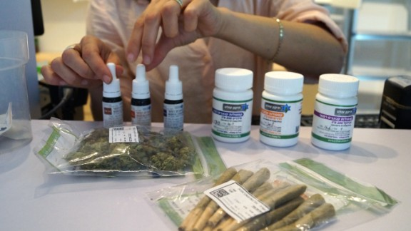 Vials of medicinal cannabis drops and other items for sale at a dispensary inTel Aviv, Israel.