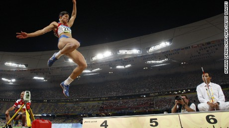 "Russia's Tatiana Lebedeva competes during the women's long jump final at the ""Bird's Nest"" National Stadium during the 2008 Beijing Olympic Games on August 22, 2008. Lebedeva took silver.  AFP PHOTO / ADRIAN DENNIS (Photo credit should read ADRIAN DENNIS/AFP/Getty Images)"