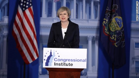 British Prime Minister Theresa May speaks at the Republicans Congressional retreat in Philadelphia, Thursday, Jan. 26, 2017. (AP Photo/Matt Rourke)