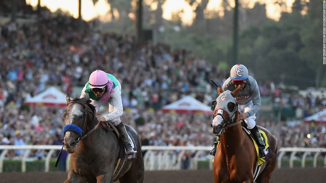 "Arrogate (left), ridden by Mike Smith, <a href=""http://edition.cnn.com/2016/11/06/sport/breeders-cup-classic-california-chrome/"">edged out</a> California Chrome to win the Breeders' Cup Classic in November 2016 and the pair met up again with a first prize of $7 million on the line in the Pegasus World Cup at Florida's Gulfstream Park."
