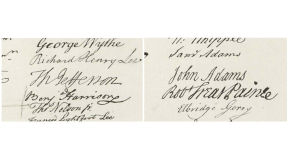 The signatures of both men adorn the Declaration of Independence.