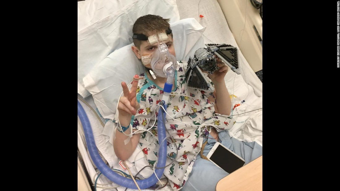November 2016:  Spencer in the ICU before his transplant. To pass the time, his dad gave him a giant set of the LEGO Star Wars edition to put together, his son's favorite movie series. When this photo was posted on Spencer's Facebook page, many others began sending LEGO sets to the hospital.
