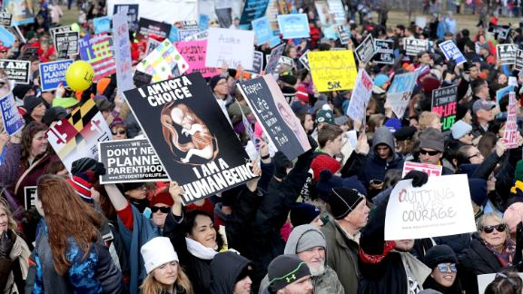 Thousands of people rally on the National Mall before the start of the 44th annual March for Life January 27, 2017, in Washington, DC. The march is a gathering and protest against the United States Supreme Court