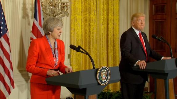 Theresa May and Donald Trump at the White House.