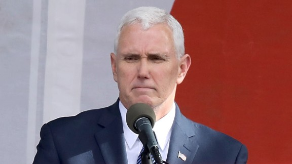 U.S. Vice President Mike Pence addresses a rally on the National Mall before the start of the 43rd annual March for Life January 27, 2017 in Washington, DC. The march is a gathering and protest against the United States Supreme Court