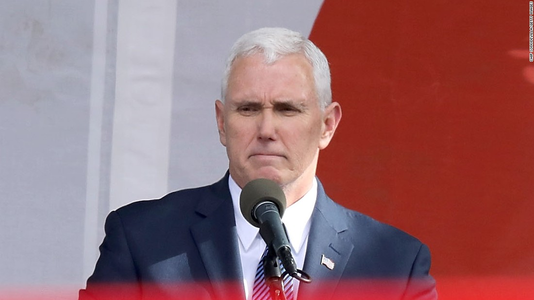 Pence addresses the crowd before the start of the march. While governor of Indiana, he signed some of the most restrictive abortion legislation into law.