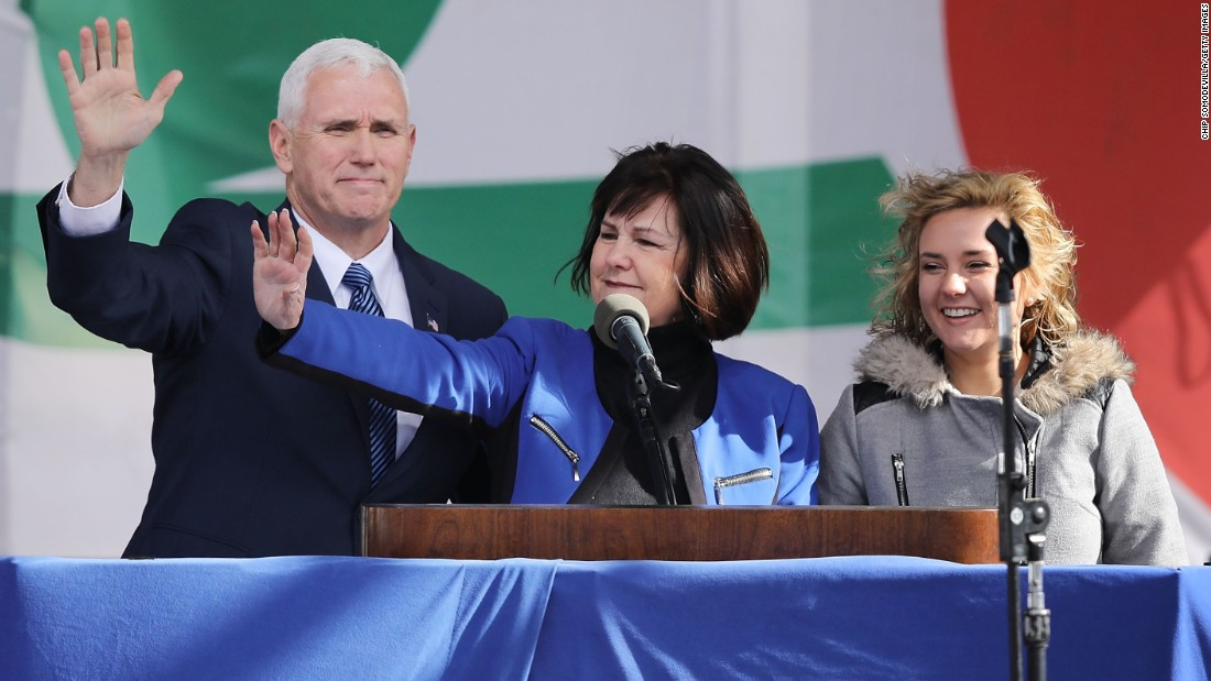 "US Vice President Mike Pence -- along with his wife, Karen, and their daughter Charlotte -- arrive on the National Mall before the start of the ""March for Life"" on Friday, January 27. The anti-abortion protest has taken place every year since the Supreme Court ruled abortion legal in 1973."
