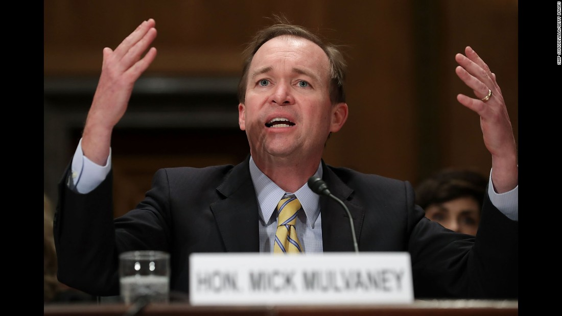 "US Rep. Mick Mulvaney -- Trump's pick to lead the Office of Management and Budget -- testifies during his confirmation hearing on Tuesday, January 24. Mulvaney <a href=""http://www.cnn.com/2017/01/24/politics/mick-mulvaney-hearings-omb/"" target=""_blank"">didn't back off his views</a> that entitlement programs need revamping to survive -- and he didn't back away from some of his past statements on the matter. Trump, during his campaign, pledged not to touch Social Security or Medicare."