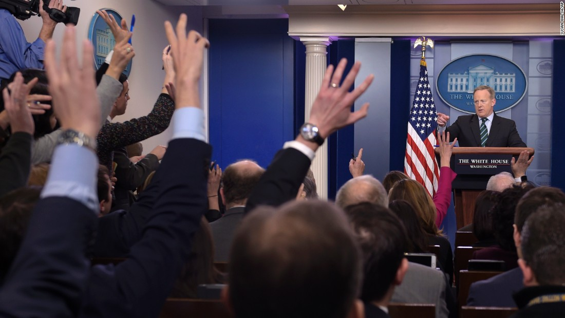 White House Press Secretary Sean Spicer calls on a reporter during the daily briefing at the White House on Wednesday, January 25. Spicer answered questions about immigration, homeland security and other topics.