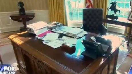 "A screengrab of President Trump's desk in the Oval Office, as shown on Fox News' ""Hannity."""