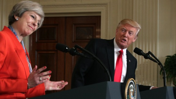Theresa May and Donald Trump at a White House news conference.