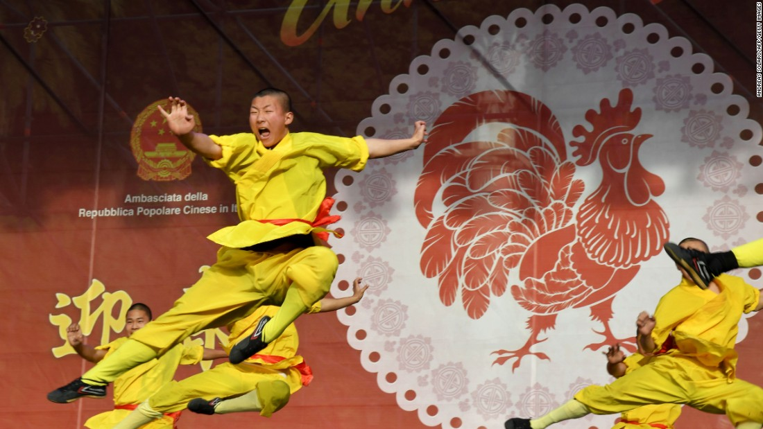 Chinese martial artists perform in Rome. January 28, 2917, is the Lunar New Year for much of Asia. According to the Chinese calendar, it's the year of the rooster.