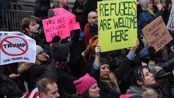 Protestors rally at John F. Kennedy International Airport.