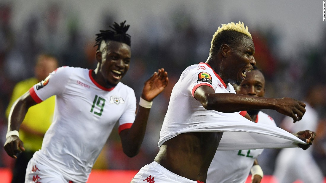 Aristide Bance celebrates scoring Burkina Faso's opener against Tunisia in Libreville.