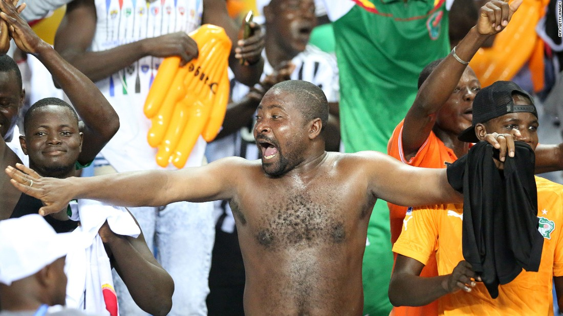 Burkina Faso supporters celebrate after sealing victory against Tunisia in the quarterfinal.