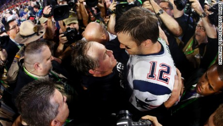 Brady celebrates with Belichick after defeating the Seattle Seahawks 28-24 in Super Bowl XLIX in 2015.