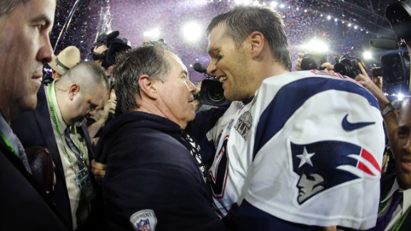 New England Patriots head coach Bill Belichick and New England Patriots quarterback Tom Brady during the NFL Super Bowl XLIX football game against the Seattle Seahawks Sunday, Feb. 1, 2015, in Glendale, Arizona. The New England Patriots won 28-24.