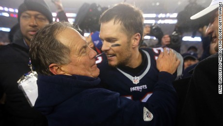 New England Patriots head coach Bill Belichick and quarterback Tom Brady celebrate after advancing to Super Bowl LI.