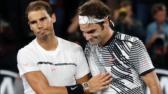 Rafael Nadal, left, congratulates Roger Federer after the match.