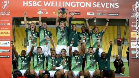 South Africa celebrates its victory over Fiji in the final of the Wellington Sevens at the Westpac Stadium.