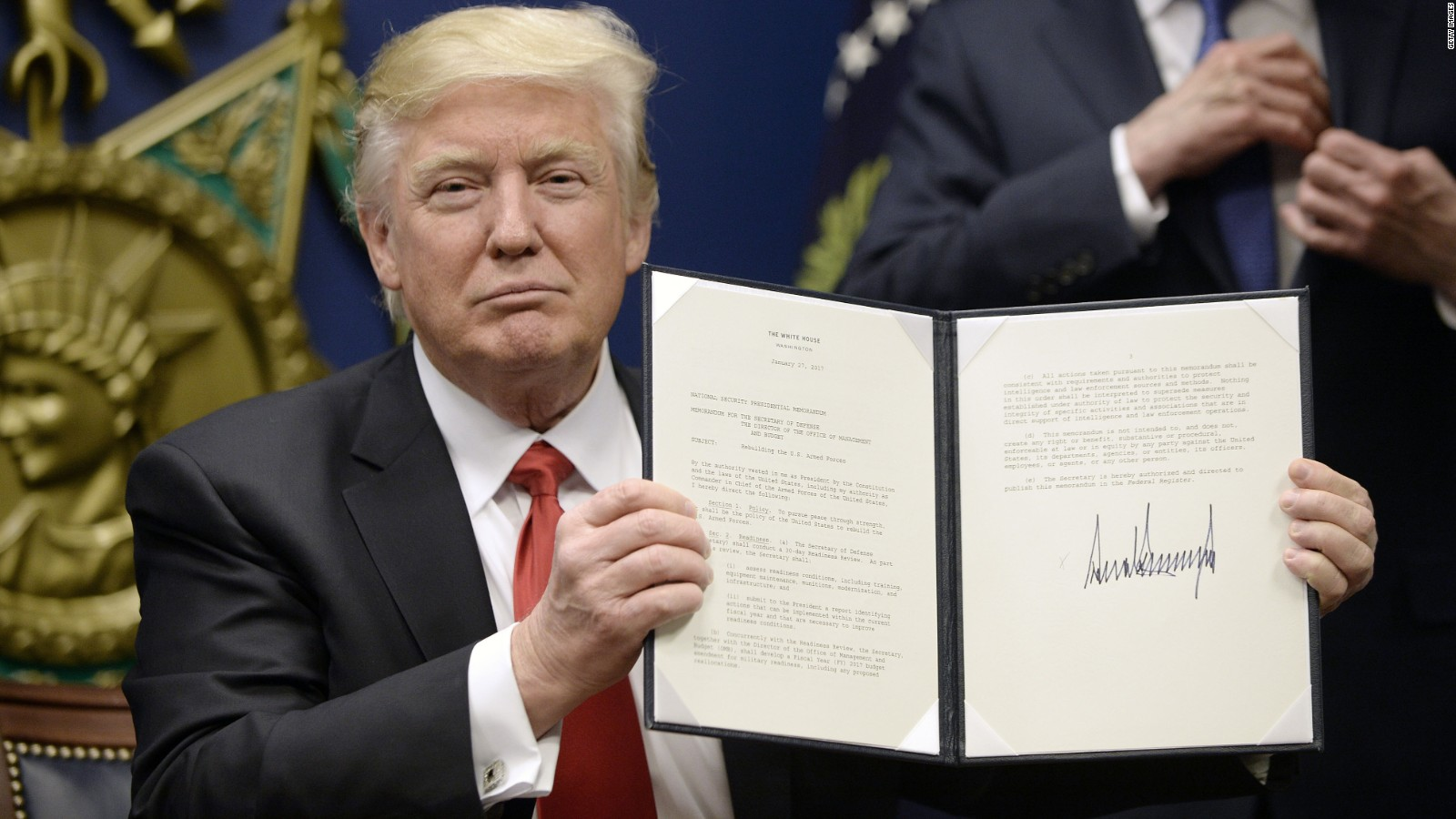 Image result for photo of president trump signing travel ban