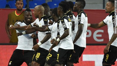 The Ghana players celebrate as goals from Jordan and Andre Ayew take them into the semifinals of the Africa Cup of Nations with a 2-1 win over DR Congo in Oyem.