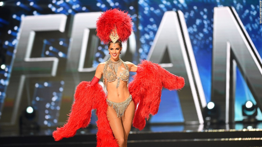 Miss Universe winner Mittenaere presents during the pageant's national costume and preliminary competition at the Mall of Asia arena in Manila on Jan. 26.