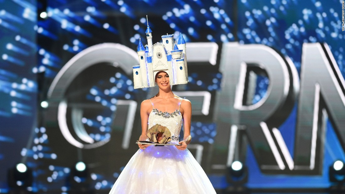 Miss Universe contestant Johanna Acs of Germany presents during the national costume and preliminary competition.