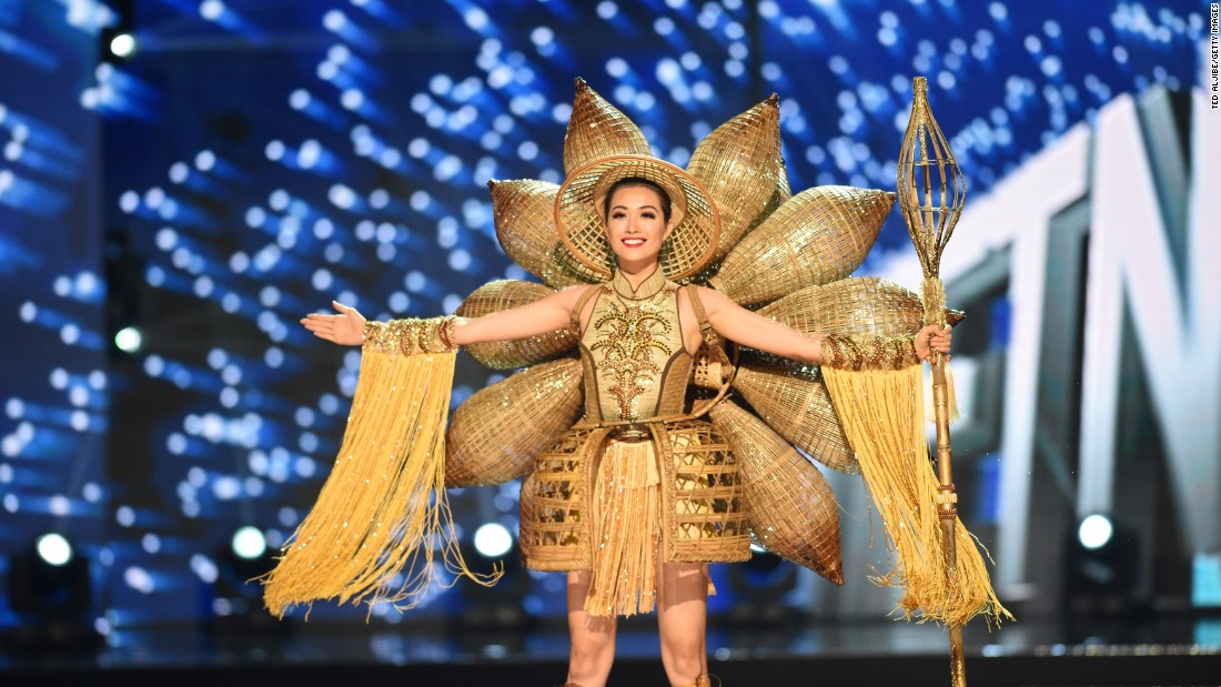 Miss Universe contestant Le Hang of Vietnam presents during the national costume and preliminary competition.