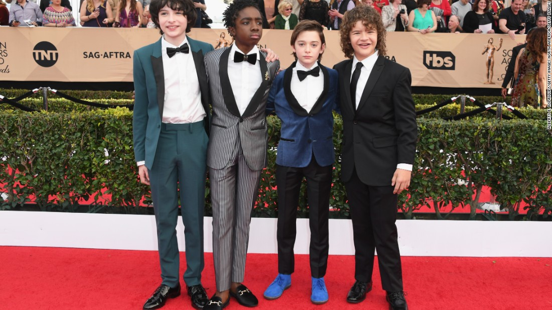 """Stranger Things"" cast members Finn Wolfhard, Caleb McLaughlin, Noah Schnapp and Gaten Matarazzo showed dapper style on the red carpet."