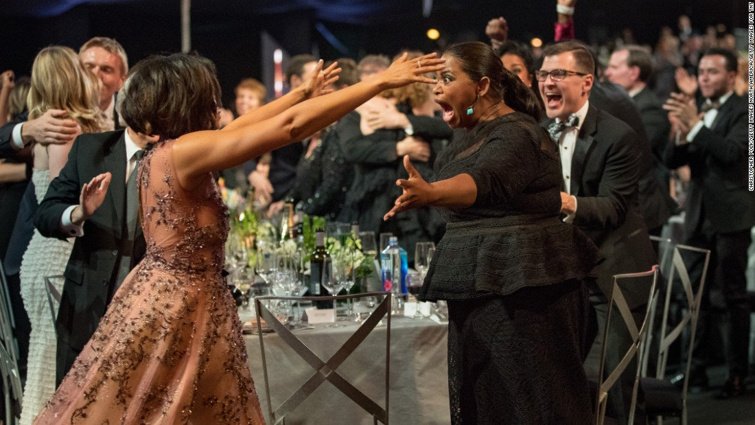 "Taraji P. Henson and Octavia Spencer show their excitement for their ""Hidden Figures"" win."