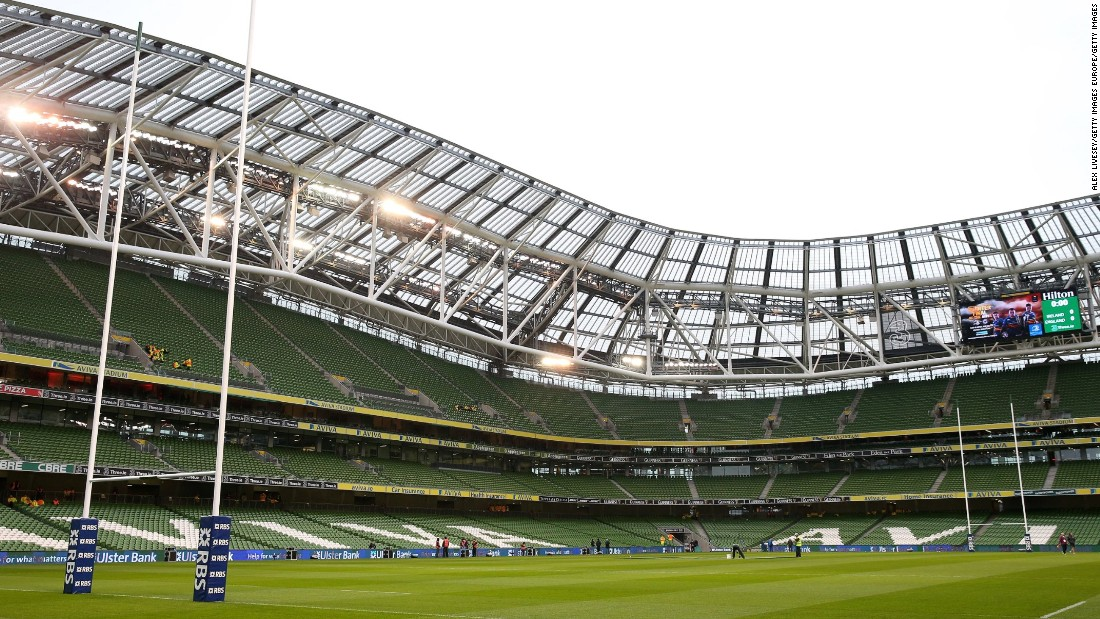 Built on the site of Irish rugby's former home Lansdowne Road, the 51,700-capacity Dublin ground -- with its distinctive continuous curved stands -- is jointly owned with the Football Association of Ireland.
