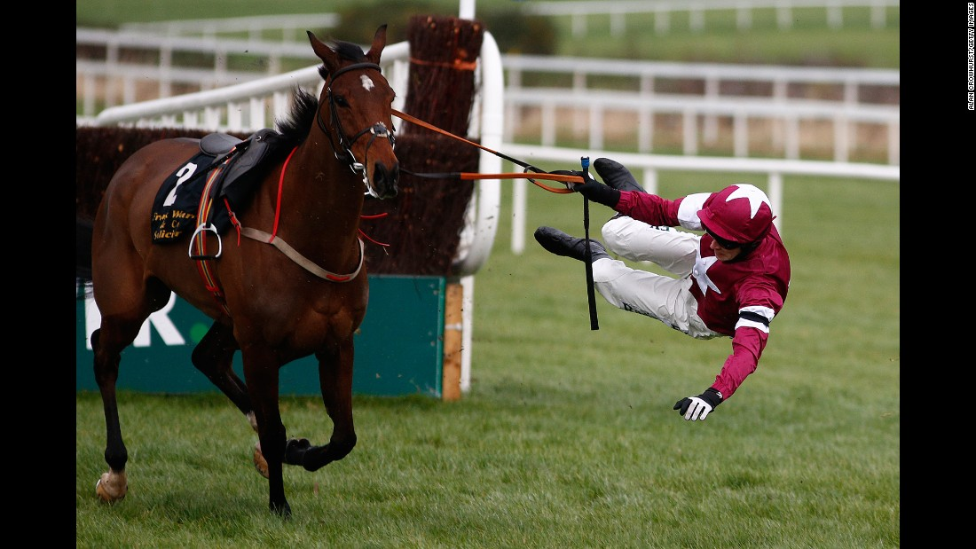David Mullins falls off Identity Thief during a steeplechase in Dublin, Ireland, on Sunday, January 29.