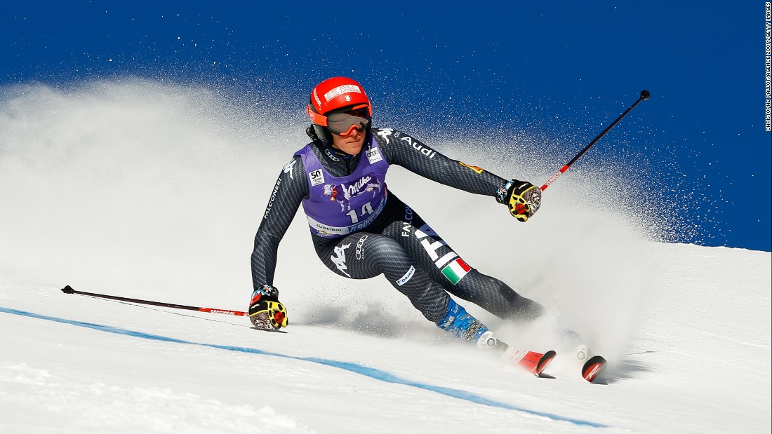 Italian skier Federica Brignone competes in the giant slalom during a World Cup event in Kronplatz, Italy, on Tuesday, January 24. She finished in first.
