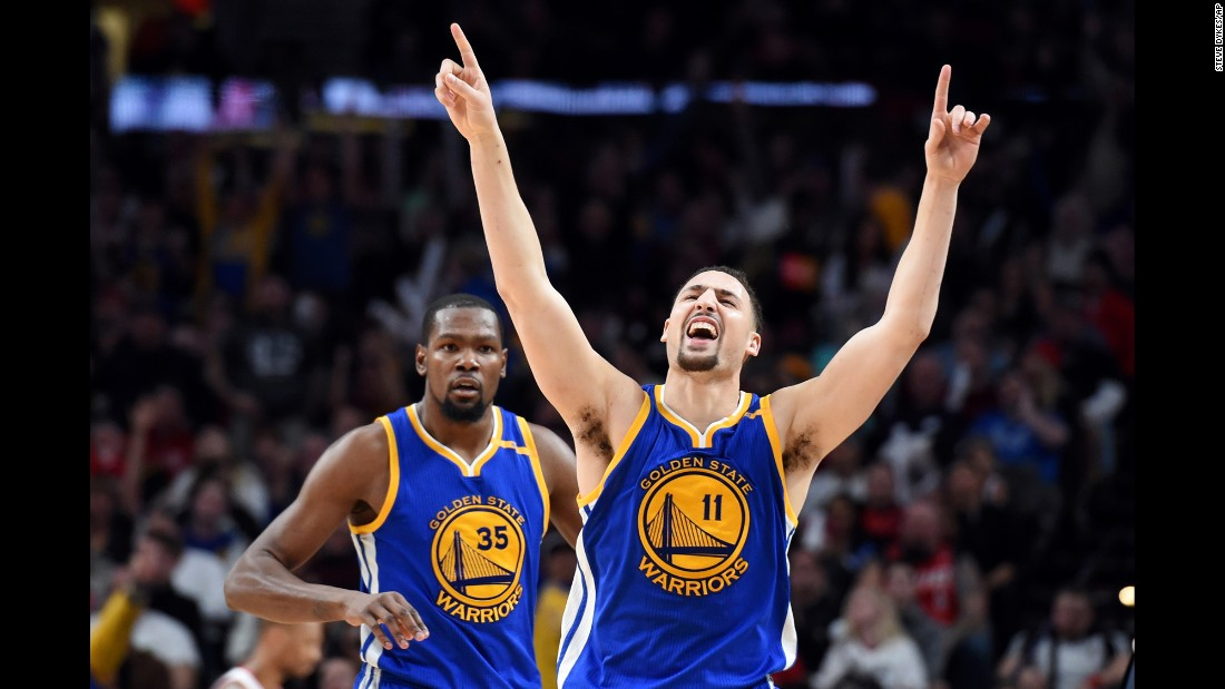 Golden State's Klay Thompson celebrates after hitting a late shot against Portland on Sunday, January 29. Thompson and the Warriors won 113-111.