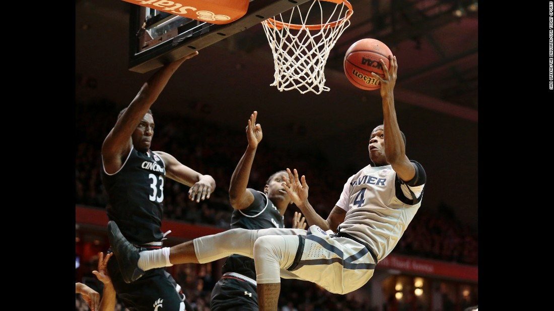 Xavier guard Edmond Sumner drives to the hoop against city rival Cincinnati on Thursday, January 26.