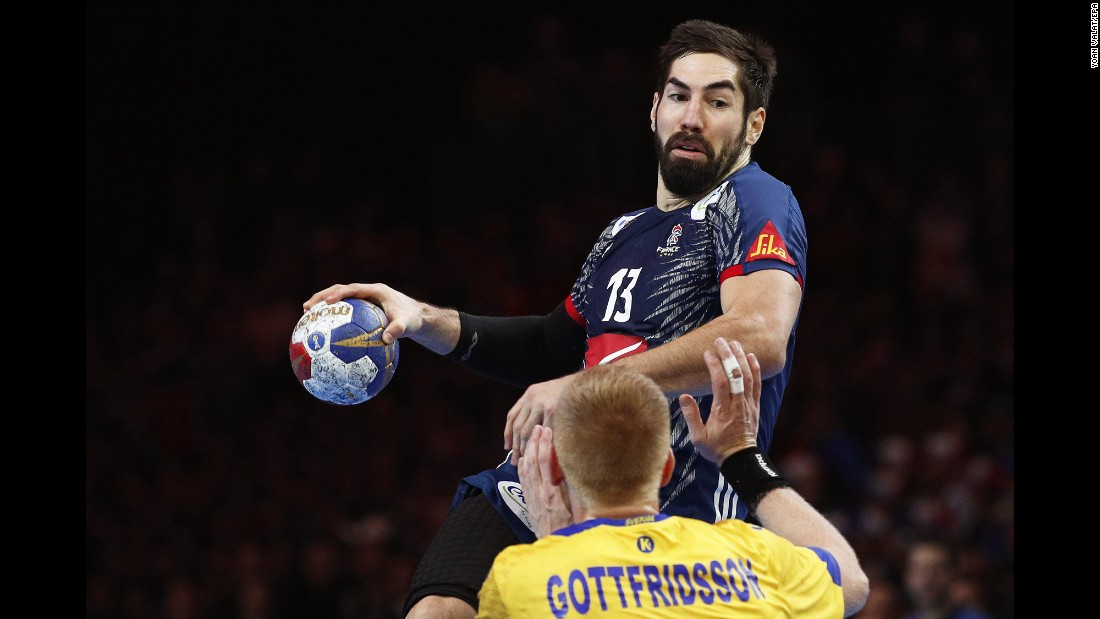 France's Nikola Karabatic leaps during a quarterfinal match against Sweden at the World Handball Championship on Tuesday, January 24.