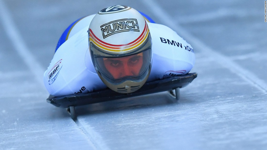 Spanish skeleton athlete Ander Mirambell competes in a World Cup event near Berchtesgaden, Germany, on Saturday, January 28.