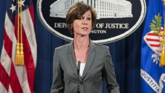 Deputy Attorney General Sally Yates speaks during a press conference to announce environmental and consumer relief in the Volkswagen litigation at the Department of Justice in Washington, DC, June 28, 2016.