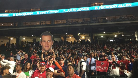 Fans at Super Bowl Opening Night at Minute Maid Park in Houston