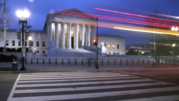 A bus passes the Supreme Court building in Washington on January 31, 2017.