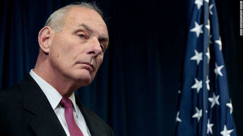 Secretary of Homeland Security John Kelly listens to questions during a press conference related to President Donald Trump's recent executive order concerning travel and refugees, January 31, 2017 in Washington, DC.
