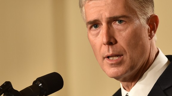 Judge Neil Gorsuch speaks, after US President Donald Trump nominated him for the Supreme Court, at the White House in Washington, DC, on January 31, 2017. President Donald Trump on nominated federal appellate judge Neil Gorsuch as his Supreme Court nominee, tilting the balance of the court back in the conservatives