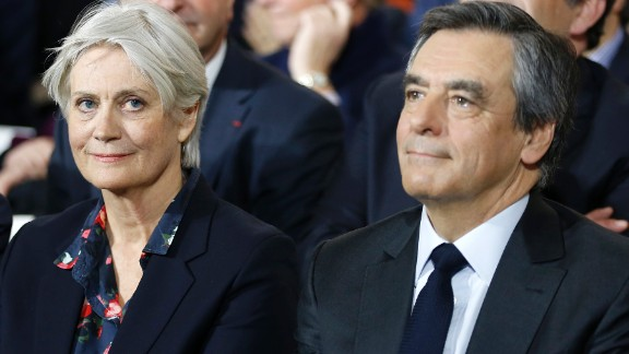 French presidential candidate François Fillon and his wife, Penelope, attend a campaign meeting this week in Paris.
