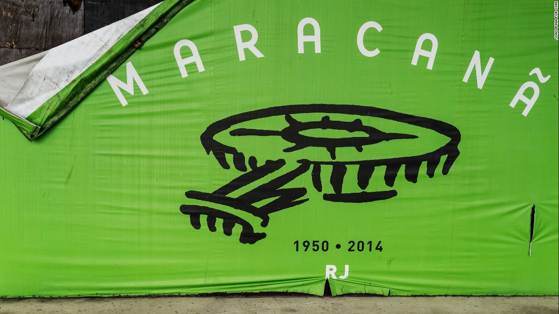 A ripped Maracana billboard.