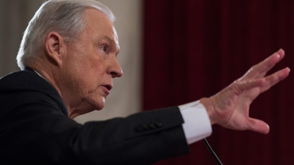 Attorney General Jeff Sessions testifies during his confirmation hearing before the Senate Judiciary Committee on January 10, 2017, in Washington.