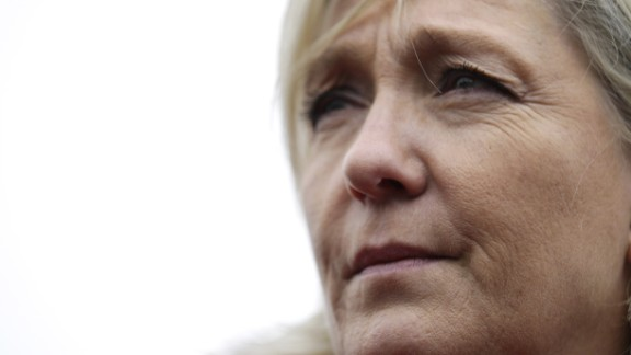 Marine Le Pen ahead of the departemental local elections in 2015.
